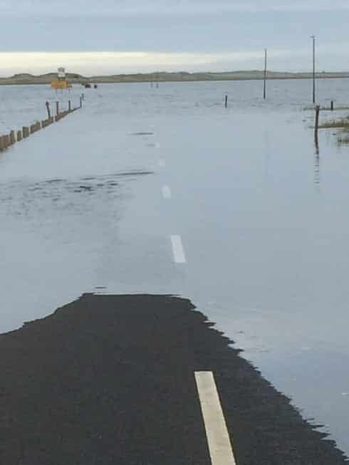 Holy Island Causeway during high tide