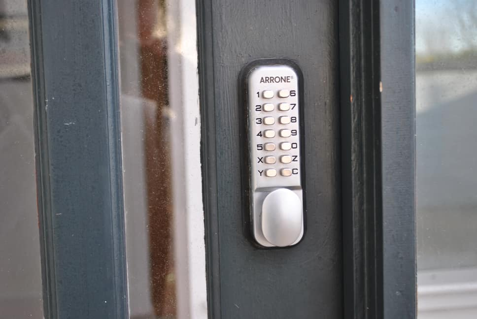 Code latch at front door.