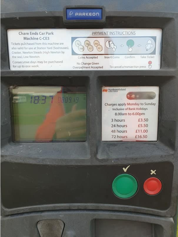 Holy Island Chare Ends Car Park parking permit machine front