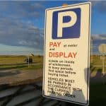 Pay and Display Car Park sign at Chare Ends car park, Holy Island