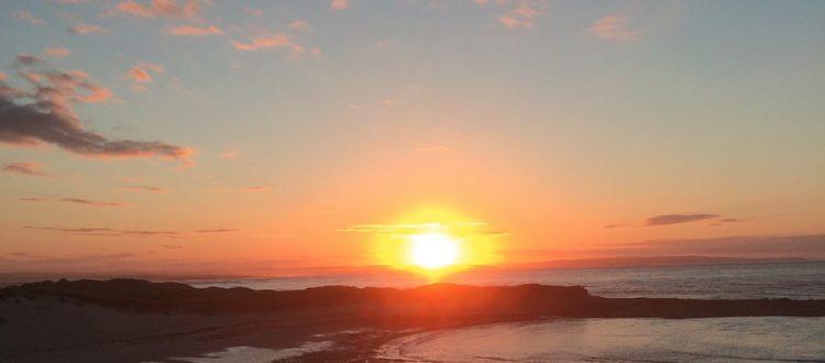 Holy Island Beach at sunset