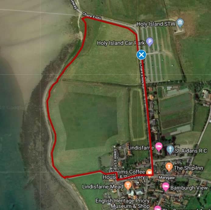 Map of Walk 1: Holy Island foreshore walk