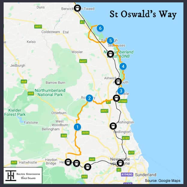 Map of Saint Oswald's Way