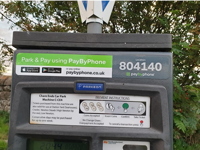 Pay by phone details for Holy Island