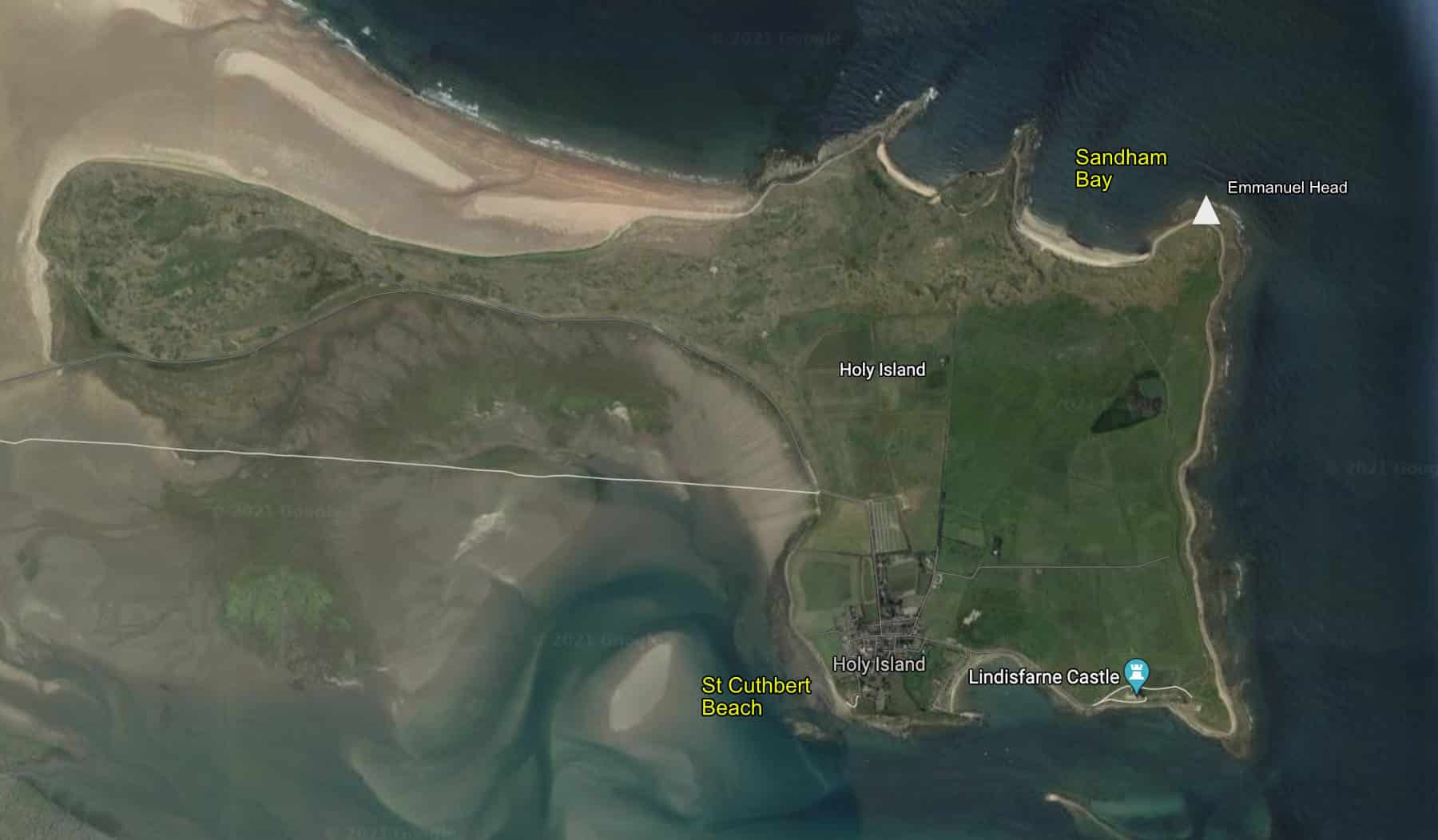 Map of wild swimming locations on Holy Island (Lindisfarne)